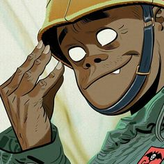 Russel Hobbs Gorillaz by Jamie Hewlett Jamie Hewlett Art, 2d And Noodle, Sunshine In A Bag, Neutral Milk Hotel, Monkeys Band, Russel Hobbs, Fanart, Gorillaz Art, Music Memes