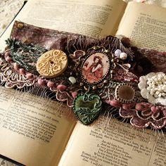Fabric Cuff  My Love Stories by Minasmoke on Etsy