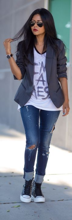 Cuffed, Distressed Jeans, HighTop Chucks, Graphic Tee, Dark Blazer Street Chic