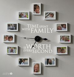 DIY Family picture clock. I'd love to do this and change out the pictures for…