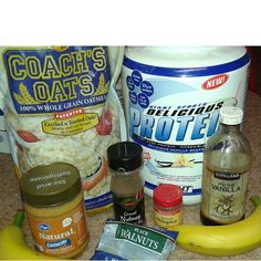 @jujubeefab shares her recipe for baked Coach's Oats oatmeal. Ingredients include bananas, peanut butter, protein, vanilla, and your choice of nuts and spices. Nice! #coachsoats