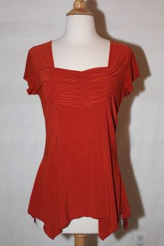AMERICAN CITY WEAR SZ M 8/10 BURNT ORANGE ASYMMETRICAL DRESS TOP SHIRT BLOUSE #AmericanCityWear #Blouse #EveningOccasion