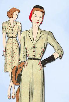 1940s Vintage Butterick Sewing Pattern 2192 Misses WWII Shirtwaist Dress Sz 34 B…