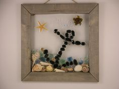 Anchors Away! Sea shell, Beach glass, turtle, starfish framed art by SeasidesbyDesign on Etsy