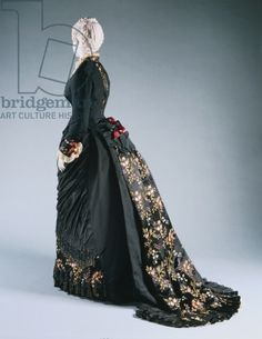 Two-Piece Day Dress, c.1878-80 (silk faille & brocaded silk lampas weave trimmed with lace, silk satin, & beads)...House of Worth
