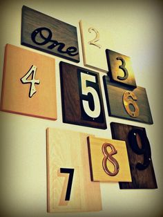 upcycle house numbers into wall art - collect from the thrift shop. I always see them there and wonder what to do with them. Add with letters, frames and other stuff onto collage wall in living room.