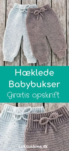 Free crochet pattern in danish, for soft and cozy crochet baby pants, find more free crochet baby patterns on my website www.dk Free crochet pattern in danish, for soft and cozy crochet baby pants, find more free crochet baby patterns Crochet Baby Pants, Crochet Baby Blanket Beginner, Crochet For Boys, Baby Knitting, Crochet Baby Clothes Boy, Crochet Baby Sweaters, Booties Crochet, Baby Booties, Crochet Baby Stuff
