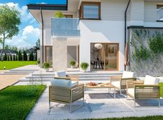 DOM.PL™ - Projekt domu ARP EMILIAN CE - DOM AP2-13 - gotowy koszt budowy Classic House Exterior, Modern Small House Design, Design Case, Villa, Patio, House Styles, Building, Outdoor Decor, Home Decor