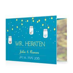 Hochzeitseinladung Leuchtendes Fest in Lagune - Doppelklappkarte flach gewickelt #Hochzeit #Hochzeitskarten #Einladung #Foto #kreativ #modern https://www.goldbek.de/hochzeit/hochzeitskarten/einladung/hochzeitseinladung-leuchtendes-fest?color=lagune&design=07a8c&utm_campaign=autoproducts