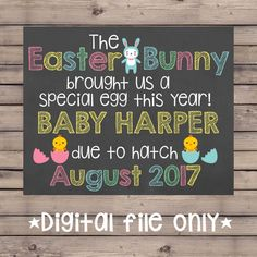 10 of the most adorable easter baby photos ever pregnancy sons easter pregnancy announcement chalkboardeaster bunny pregnancy signeaster pregnancy revealeaster expecting negle Gallery