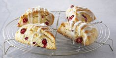 The perfect scone to accompany high tea, studded with cranberries and drizzled with a lemon glaze.Makes 8 large scones.You might also like these Sweet and Savoury Scone Recipes.
