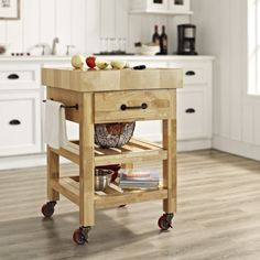 Crosley Furniture Marston Butcher Block Kitchen Cart, Other Clrs