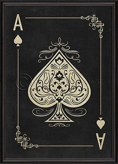 "Ace of Spades White on Black Framed Print 22"""" x 30"""" Wood Framed Print with Glass Front. Framed artwork is printed on high resolution acid-free art paper.Dimensions (in):22 1/8"""" x 30 1/4""""By Spicher"