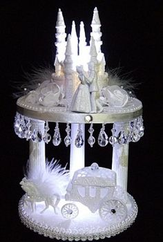 Lighted Cinderella Castle Wedding Cake Toppers #103 lit