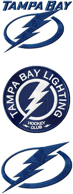Tampa Bay Lighting logos machine embroidery by emoembroidery Hockey Logos, Sports Logos, Hockey Teams, Tampa Bay Lighting, Lightning Logo, Thunder, Machine Embroidery, Signs, Handmade Gifts