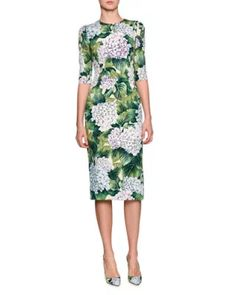 Hydrangea-Print Elbow-Sleeve Dress, Green Pattern by Dolce & Gabbana at Bergdorf Goodman. Dolce & Gabbana, Backless Loafers, Shift Dress Pattern, Batik Fashion, Dresses For Work, Dresses With Sleeves, Green Dress, White Dress, Silk Dress