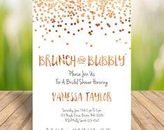 Rose Gold Confetti Brunch And Bubbly Invite Invitation Wedding Shower Printables