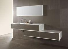 Integración Bathroom Floor Cabinets, Master Bathroom Vanity, Modern Bathroom Lighting, Bathroom Mirror Lights, Modern Bathroom Design, Bathroom Interior Design, Room Wall Tiles, Creative Closets, Bathroom Design Inspiration