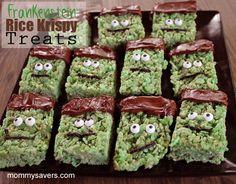 Halloween Treats:  Frankenstein Rice Krispy Treats