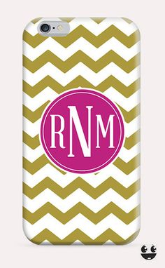 iPhone Case iPhone 4 Case & iPhone 4S, Case iphone 5 Case & iPhone 5S Case, iPhone 5C Case, iPhone 6 Case & iPhone 6, Plus  Gold Chevron & PInk Monogram