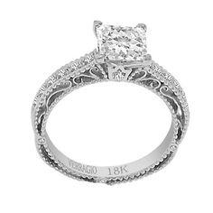 Verragio 18k White Gold Cubic Zirconia and 1/5ct TDW Diamond Milgrain Engagement Ring (F-G, VS1-VS2)