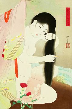 Narita Morikane - Combing Hait - Twenty-Four Examples of Charming Figures Japanese Drawings, Japanese Painting, Japanese Prints, Female Body Art, Japan Illustration, Geisha Art, Traditional Japanese Art, Japan Art, Anime Art