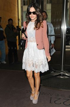 Rachel Bilson - love the dress and shoes. Just bought nude suede wedges similar to her shoe. love love love!!!!