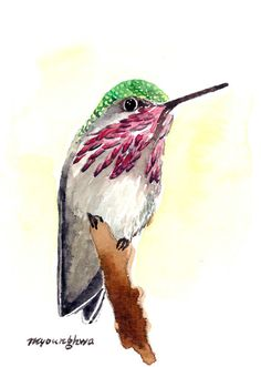 ACEO Limited Edition 10/25- The thing no man create, Art print of an original watercolor painting, HummingBird art, Housewarming gift idea