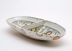 Peltzman, Segmented Oblong Dish, 1.75x4.5x9.5, porcelain, 2014