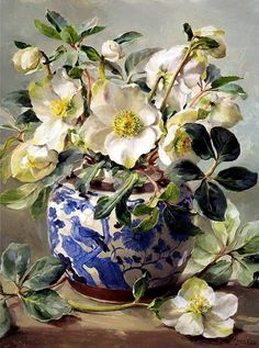 White hellebores arranged in a blue and white chinese vase. vase White Hellebores in a Chinese Vase - Blank Card Art Floral, Flower Of Life, Flower Art, Christmas Rose, Still Life Art, Vases Decor, Botanical Art, Beautiful Paintings, Beautiful Flowers