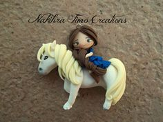 Cute Girl Rideing Horse  in Polymer Clay Fimo