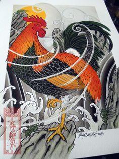 Rooster on top of a rock Art by Paulo Barbosa - Ariuken Art on Facebook