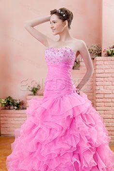A-Line #Halter Floor-Length #Empire Waistline Ruffles Ela's Ball Gown Dress.