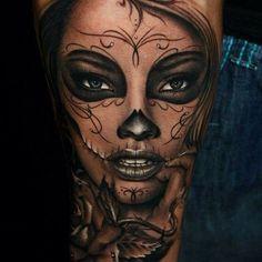 dead tattoos idea 12 attractive day of the dead tattoos Skull Candy Tattoo, Sugar Skull Girl Tattoo, Girl Face Tattoo, Day Of The Dead Tattoo Designs, Day Of The Dead Tattoo Sleeve, Day Of The Dead Girl Tattoo, Cute Tattoos, Leg Tattoos, Beautiful Tattoos