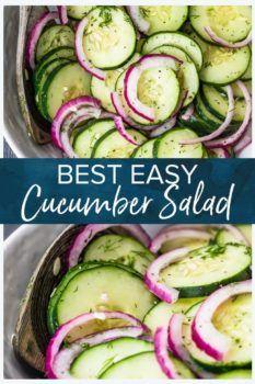 Cucumber Onion Salad, Cucumber Salad Vinegar, Cucumber Recipes, Salad Recipes Healthy Lunch, Salad Recipes For Dinner, Chicken Salad Recipes, Healthy Salad Recipes, Recipe For Cucumber Salad, Recipes For Cucumbers