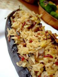 Berenjena rellena de arroz