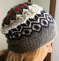 Emily is an Icelandic inspired hat with a modern slouch. Knit in the round from the bottom up.