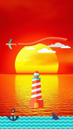 ↑↑TAP AND GET THE FREE APP! Lockscreens Art Creative Sunset Sea Sky Lighthouse HD iPhone 6 Lock Screen