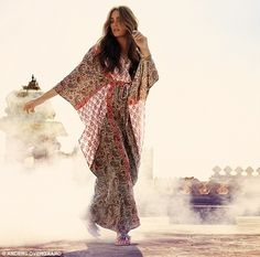 Yasmin Le Bon for Monsoon SS 2013. She wears KAFTAN, £79, sizes s-l; BANGLES, £16 for set, and SANDALS, £25, sizes 3-8