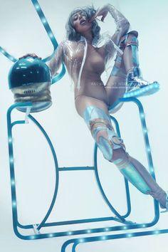 Ophelia Overdose  Make-up,styling,retouch: Model Ophelia Overdose Photo: Kyrian Jacket: Miss Overdose Leg harness: Nixi Killick Helmet: Danny G Wig: Wicked Wigs Location: Creatington