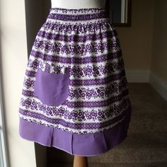 Vintage Purple Floral and Frilly Half Apron by TinyIsland on Etsy, $15.00 wish I had a purple kitchen!
