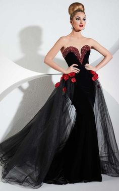 b5f2a477b71 Buy the Contrast Rosette Sweetheart Velvet Trumpet Gown 44289J by Panoply  at CoutureCandy.com