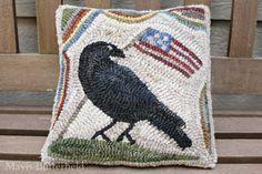 Primitive Folk Art Early Style Hooked Rug American Flag Crow Pillow #NaivePrimitive #MavisButterfield