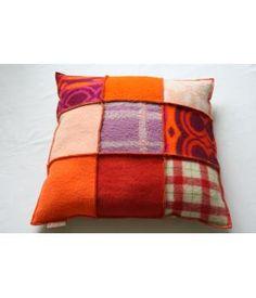 Beautiful large living pillow, made of woolen blankets. Made by Hebben&Houden, on www.metdehand.nl
