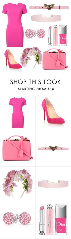"""""""Pinks"""" by clairechiste ❤ liked on Polyvore featuring Likely, Christian Louboutin, Mark Cross, Gucci, Monsoon, Humble Chic, Bling Jewelry, Christian Dior, tshirtdresses and 60secondstyle"""