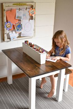 DIY Kid's Farmhouse Table - Our Handcrafted LifeYou can find Kid furniture and more on our website.DIY Kid's Farmhouse Table - Our Handcrafted Life Kids Art Table, Kid Table, Study Table For Kids, Toddler Art Table, Art Tables, Kids Bench, Toddler Bed, Kids Table And Chairs, Diy Dresser Makeover