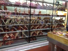 Gary's Quality Meats - Prahran Market, can see his meat from the outside, Oh his customers can see his meat too! Mobile Shelving, Metal Fabrication, Display Shelves, Canning, Meat, Food, Exhibition Stands, Home Canning, Eten