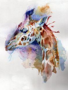 Giraffe Splatter Watercolour painting by Claire Hughes Watercolor Pencil Art, Watercolour Painting, Watercolor Tattoo, Giraffe Painting, Giraffe Art, Giraffes, Scratchboard, Horse Art, Art Inspo
