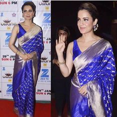 Kangana Ranaut in Madhurya creations blue and silver colour saree. Indian Attire, Indian Outfits, Indian Wear, Indian Clothes, Indian Style, Indian Ethnic, Banarsi Saree, Chiffon Saree, Indian Beauty Saree