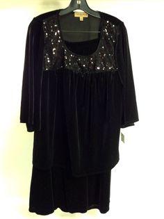 Black Velvet/sequin Pant suit